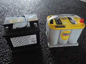 プジョー純正バッテリーとオプティマバッテリー